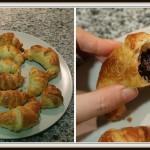Mini croissants rellenos de chocolate