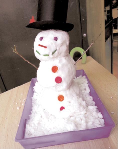 Muñeco de nieve hecho con una receta fácil y económica